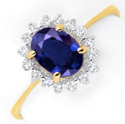 Foto 1 - Saphir Diamantring 1ct Safir 16 Diamanten 18K Gold Shop, S6654