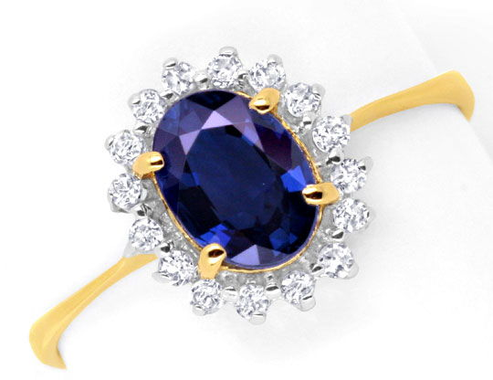 Foto 2, Saphir-Diamantring 1ct Safir 16 Diamanten 18K Gold Shop, S6654