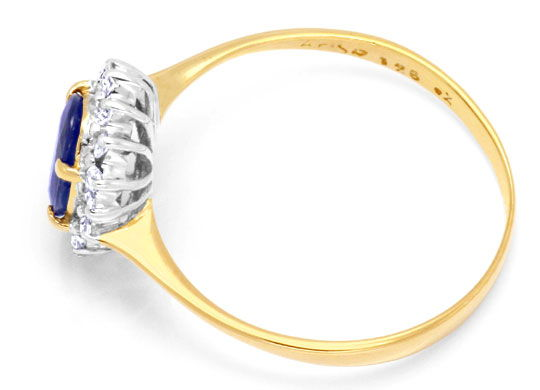 Foto 3, Saphir-Diamantring 1ct Safir 16 Diamanten 18K Gold Shop, S6654
