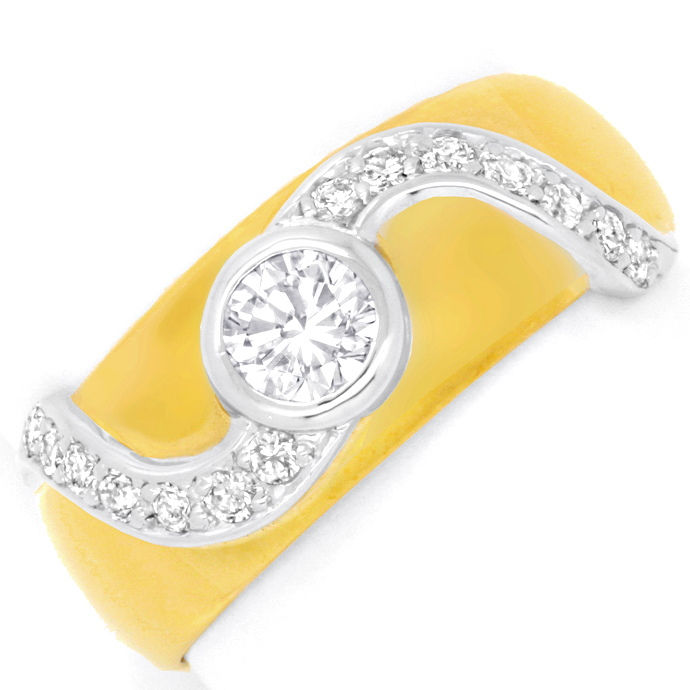 Brillantring Diamant Solitär und Brillanten Luxus! Neu!, Designer Ring