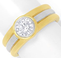 Foto 1, Brillantring 0,74ct Brilliant Gelbgold Weissgold Luxus!, S6662
