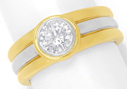Foto 2, Brillantring 0,74ct Brilliant Gelbgold Weissgold Luxus!, S6662
