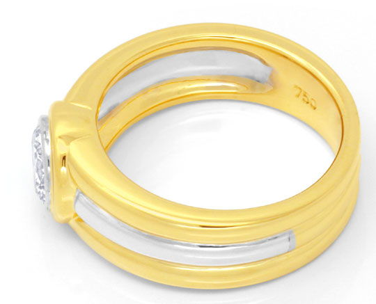 Foto 3 - Brillantring 0,74ct Brilliant Gelbgold Weissgold Luxus!, S6662