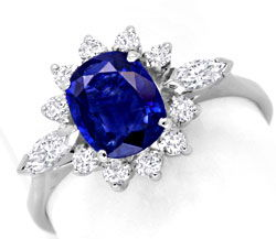 Foto 1, Diamantring 1,3ct Safir, Weissgold, 12 Diamanten Luxus!, S6682