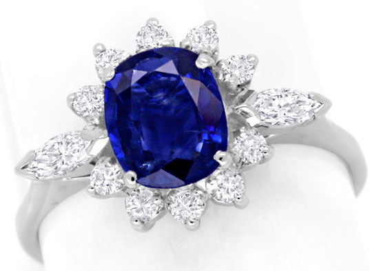 Foto 2, Diamantring 1,3ct Safir, Weissgold, 12 Diamanten Luxus!, S6682