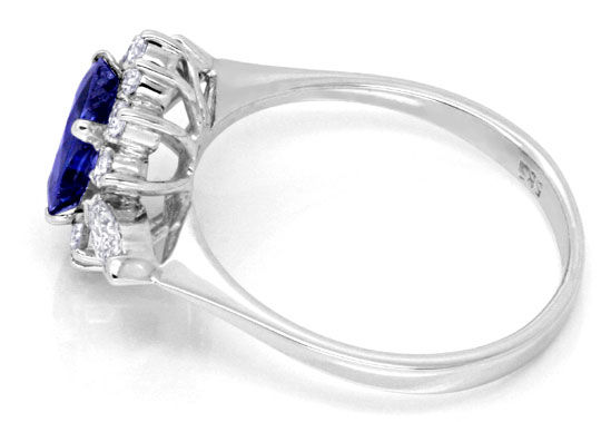Foto 3, Diamantring 1,3ct Safir, Weissgold, 12 Diamanten Luxus!, S6682