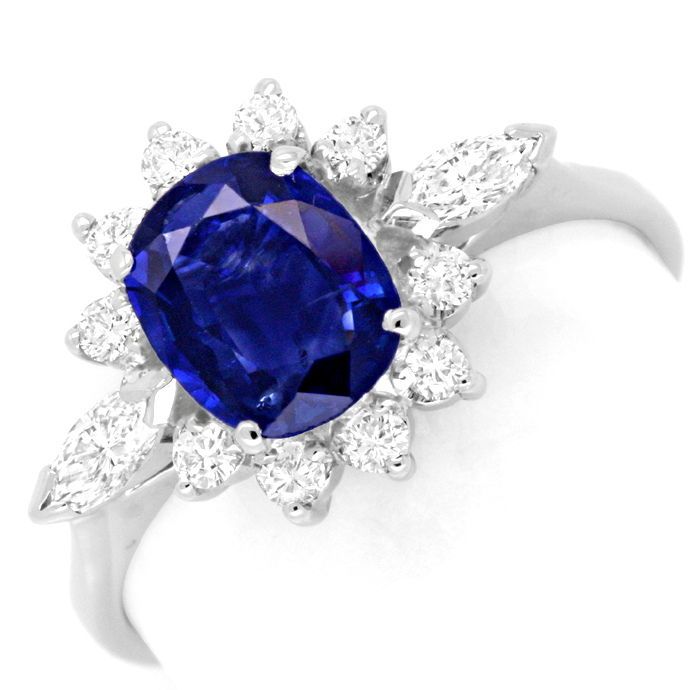 Diamantring 1,3ct Safir, Weissgold, 12 Diamanten Luxus!, Edelstein Farbstein Ring