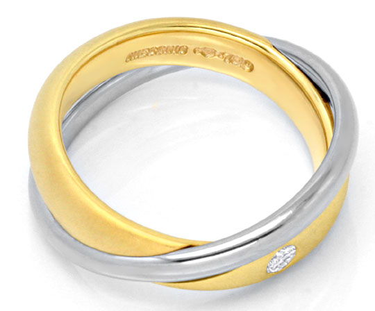 Foto 3, Niessing-Ring mit 0,07ct Brillant, Bicolor verschlungen, S6712