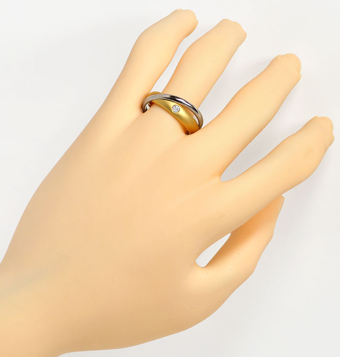 Foto 4, Niessing-Ring mit 0,07ct Brillant, Bicolor verschlungen, S6712