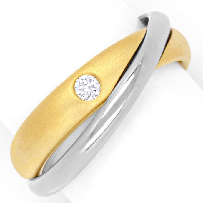 Niessing Ring mit 0,07ct Brillant, Bicolor verschlungen, Designer Ring