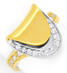 Foto 1, Design-Diamantring, 21 Brillanten Gelb-Weissgold Luxus!, S6713