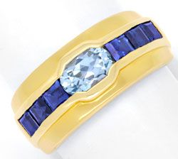 Foto 1, Gold Ring 18K Top Aquamarin, 1A Safire / Saphire Luxus!, S6714