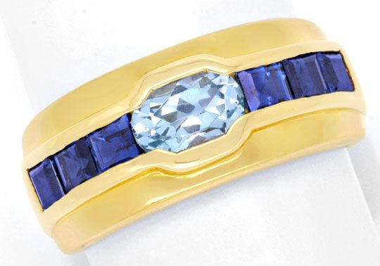 Foto 2, Gold Ring 18K Top Aquamarin, 1A Safire / Saphire Luxus!, S6714