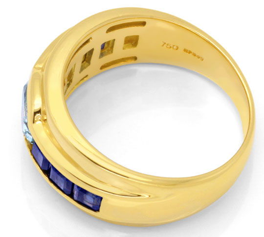 Foto 3, Gold Ring 18K Top Aquamarin, 1A Safire / Saphire Luxus!, S6714