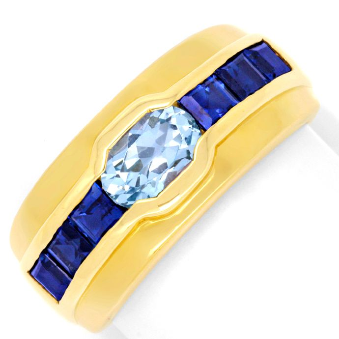 Gold Ring 18K Top Aquamarin, 1A Safire / Saphire Luxus!, Edelstein Farbstein Ring
