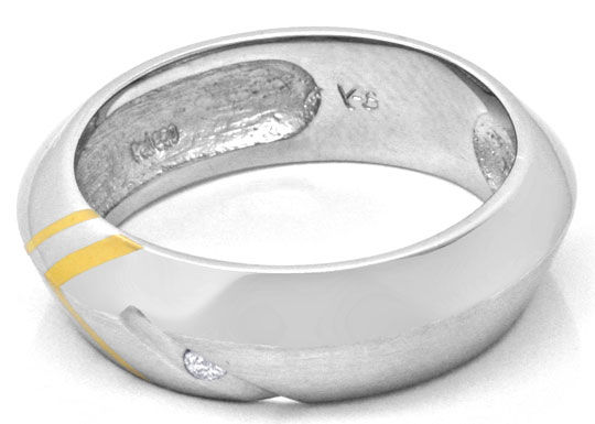 Foto 3, Brillant Designring Gold Palladium River Lupenrein Shop, S6716