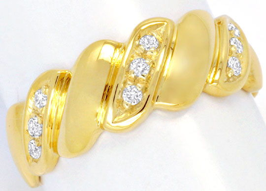 Foto 2, Brillantring 18K Gelbgold, 9 Brillanten River Shop Neu!, S6719