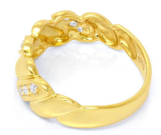 Foto 3, Brillantring 18K Gelbgold, 9 Brillanten River Shop Neu!, S6719
