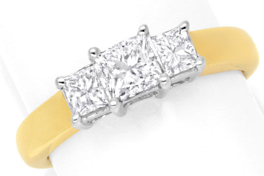 Foto 2, Exklusiver Diamantring Princess Diamanten 1,01ct in 18K, S6737