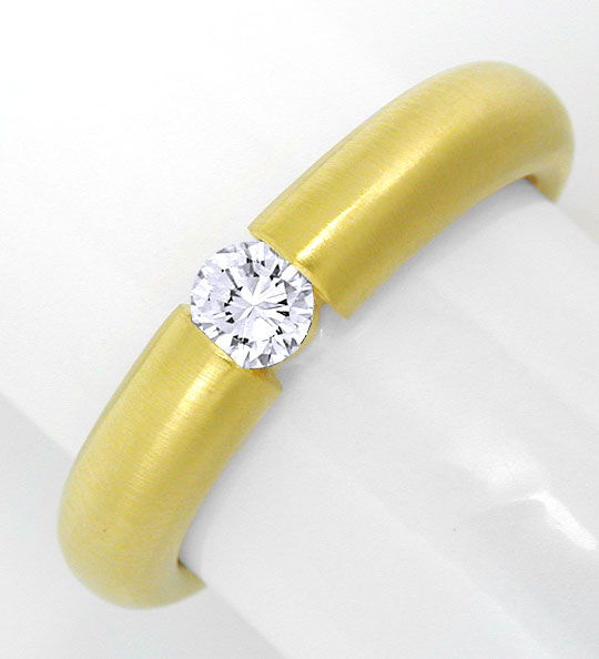 Foto 2, Brillant Spann Ring Top Diamant 18K Gelbgold Luxus! Neu, S6766