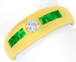 Foto 1, Brillant Bandring Super Smaragd Carrees 18K Gold Luxus!, S6770