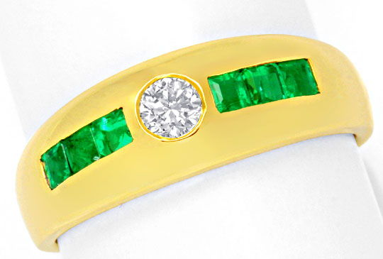 Foto 2, Brillant Bandring Super Smaragd Carrees 18K Gold Luxus!, S6770