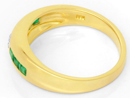 Foto 3, Brillant Bandring Super Smaragd Carrees 18K Gold Luxus!, S6770