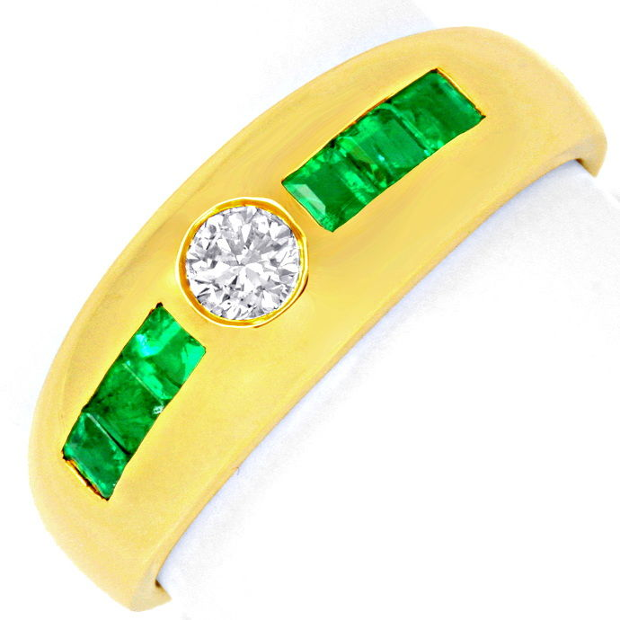Brillant Bandring Super Smaragd Carrees 18K Gold Luxus!, Edelstein Farbstein Ring