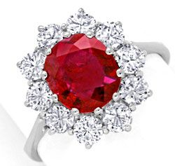 Foto 1, Brillant-Ring 2,1ct Super-Rubin 1,4ct Diamanten Schmuck, S6780