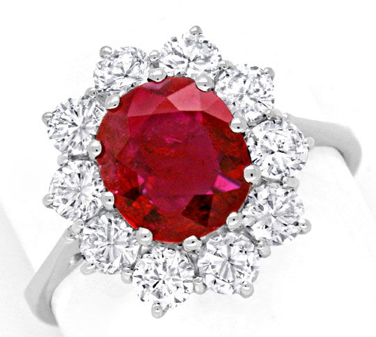 Foto 2, Brillant Ring 2,1ct Super Rubin 1,4ct Diamanten Schmuck, S6780