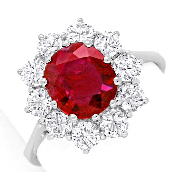 Brillant Ring 2,1ct Super Rubin 1,4ct Diamanten Schmuck, Edelstein Farbstein Ring