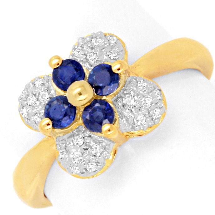 Diamant Ring 24 Diamanten 4 Top Saphire 18K Gold Luxus!, aus Edelstein Farbstein Ringen