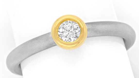 Foto 2, Platinring Goldring mit Brillant 0,2ct River Luxus! Neu, S6835