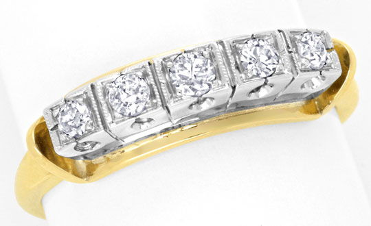 Foto 2, Halbmemory Diamant Ring 0,28ct Gelbgold Weissgold, Shop, S6844