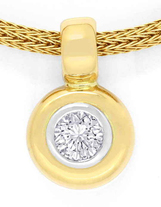 Foto 2, Brillant Kollier 0,65ct Strumpf Strick Goldkette Luxus!, S6906