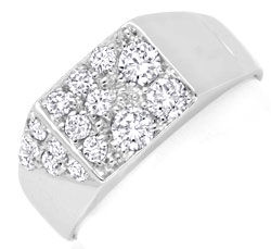 Foto 1, Brillant Diamant Ring Weissgold 15 Diamanten Luxus! Neu, S6924