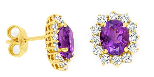 Foto 1, Amethyst-Diamant-Ohrringe Brillantohrstecker 18K Luxus!, S6932