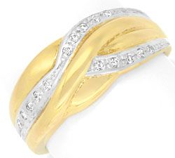Foto 1, Brillantbandring 15 Brillianten, 14K Gelbgold Shop Neu!, S6938