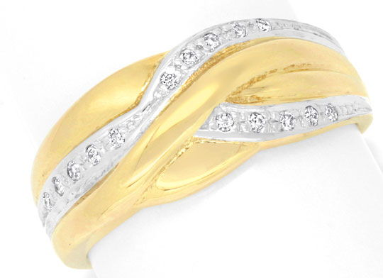 Foto 2 - Brillantbandring 15 Brillianten, 14K Gelbgold Shop Neu!, S6938