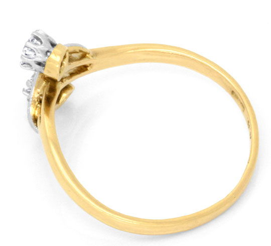 Foto 3 - Alter Diamantring in Platin Rotgold Diamantrosen Luxus!, S6946