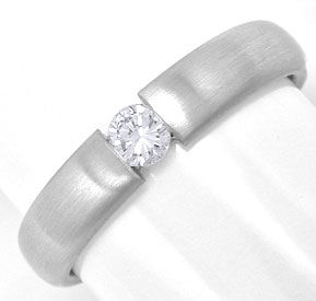 Foto 1, Massiver Platin Brillant Diamant Spann Ring Luxus! Neu!, S6951