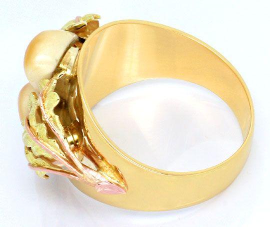 Goldring  Goldring mit einem Paar Grandeln 14K Gelb-Rot-Grün-Gold, S6960