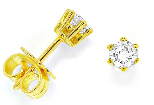 Foto 1, Brillant Ohrringe, Diamant Ohrstecker, Gelbgold, Luxus!, S6969