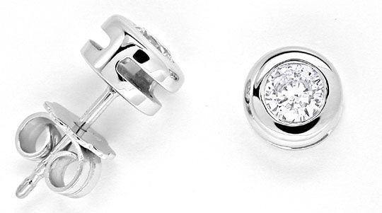 Foto 1 - Brillant Ohrringe, Diamant Zargen Ohrstecker 18K Luxus!, S6973