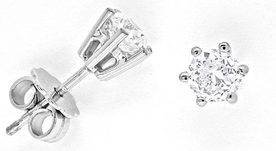 Foto 1 - 0,90 Carat Brillant Ohrringe, Diamant Ohrstecker Luxus!, S6975