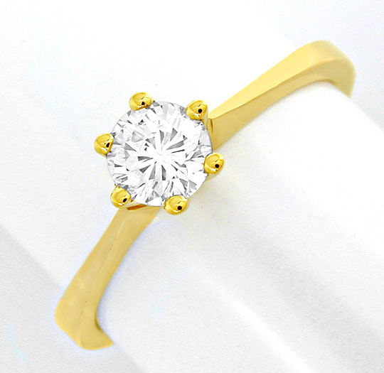 Foto 2, Brilliant Diamant Krappen Ring 0,41ct 18K GG Luxus! Neu, S6981