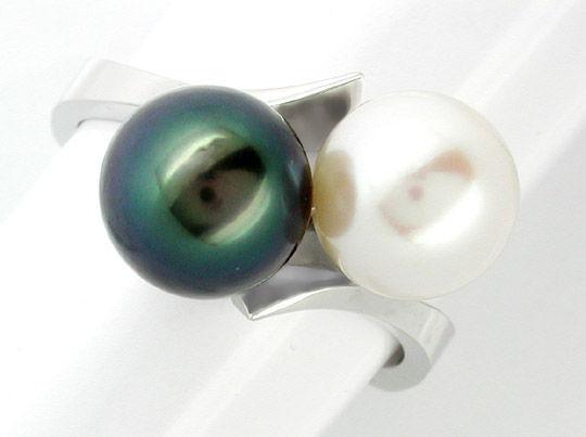 Foto 1, Neu! Traum-Perlenring Handarbeit massiv Luxus Portofrei, S7399