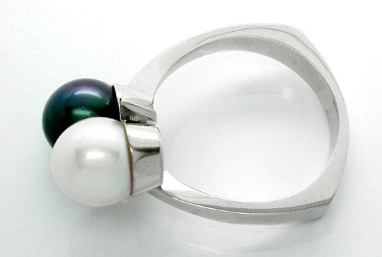 Foto 2, Neu! Traum-Perlenring Handarbeit massiv Luxus Portofrei, S7399