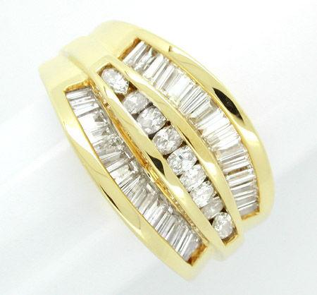 Foto 1, Diamant-Ring Trapez Baguette Navette massiv! 18K Luxus!, S7597