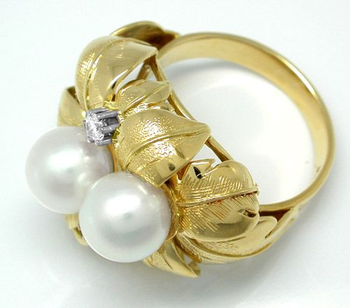 Foto 4 - Neu! 1A Handarbeits Brillant Perl Ring Luxus! Portofrei, S8177